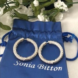Sonia Bitton SS Diamonique Pierced Hoop Earrings